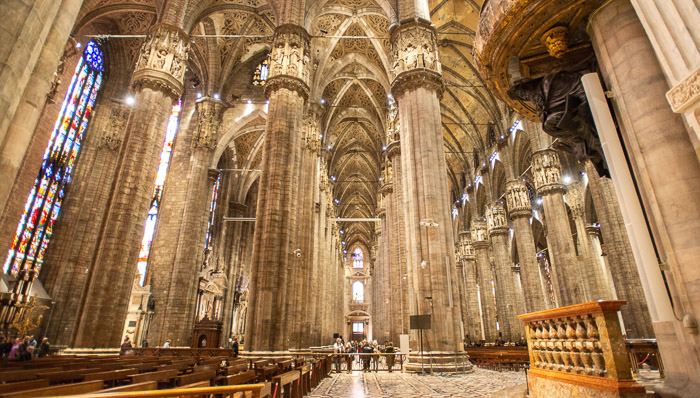 Incredible! The interior of the Milan Duomo is as impressive as the outside. Huge columns and colorful stained glass windows.