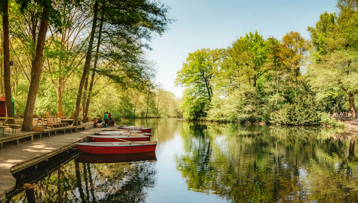 red rowboats on stage at Neuer See in Berlin Tiergarten